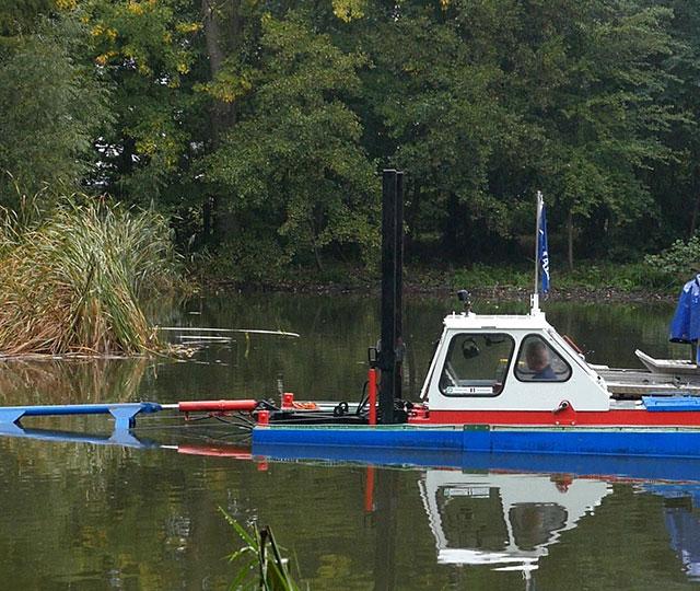 Baggerarbeiten und Binnengewässer Management.