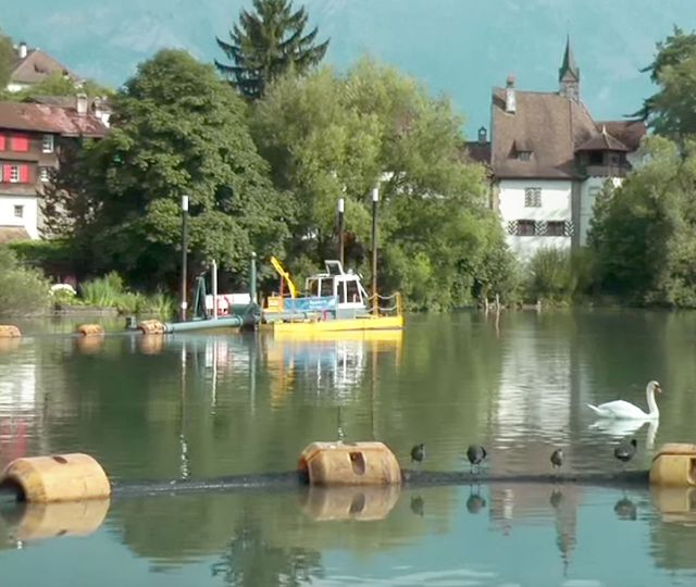 Buchs Werdenbergersee, Switzerland, restoration village pond.