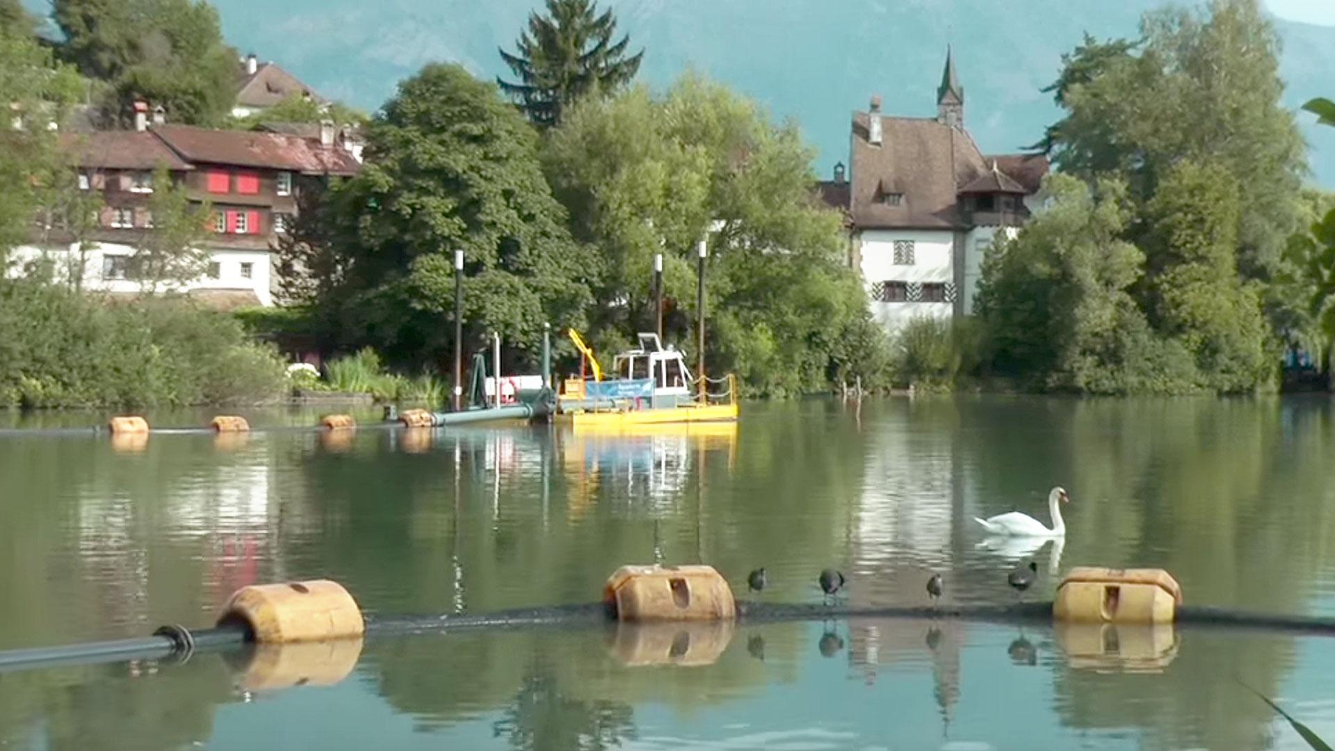 Buchs Werdenbergersee Switzerland, restoration village pond.